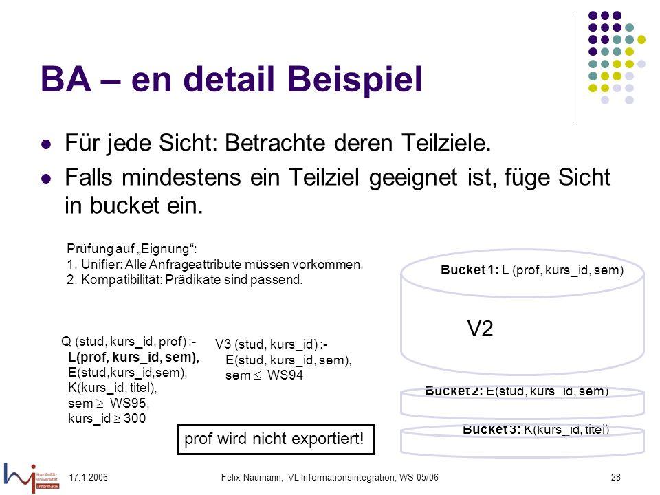 17.1.2006Felix Naumann, VL Informationsintegration, WS 05/0628 BA – en detail Beispiel Für jede Sicht: Betrachte deren Teilziele.