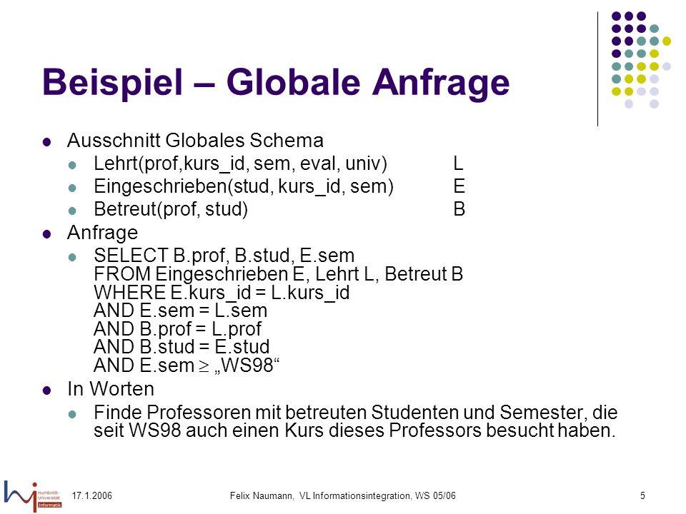 17.1.2006Felix Naumann, VL Informationsintegration, WS 05/065 Beispiel – Globale Anfrage Ausschnitt Globales Schema Lehrt(prof,kurs_id, sem, eval, univ)L Eingeschrieben(stud, kurs_id, sem)E Betreut(prof, stud)B Anfrage SELECT B.prof, B.stud, E.sem FROM Eingeschrieben E, Lehrt L, Betreut B WHERE E.kurs_id = L.kurs_id AND E.sem = L.sem AND B.prof = L.prof AND B.stud = E.stud AND E.sem WS98 In Worten Finde Professoren mit betreuten Studenten und Semester, die seit WS98 auch einen Kurs dieses Professors besucht haben.