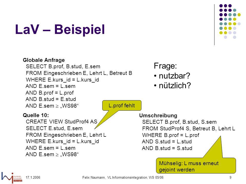 17.1.2006Felix Naumann, VL Informationsintegration, WS 05/069 LaV – Beispiel Globale Anfrage SELECT B.prof, B.stud, E.sem FROM Eingeschrieben E, Lehrt L, Betreut B WHERE E.kurs_id = L.kurs_id AND E.sem = L.sem AND B.prof = L.prof AND B.stud = E.stud AND E.sem WS98 Quelle 10: CREATE VIEW StudProf4 AS SELECT E.stud, E.sem FROM Eingeschrieben E, Lehrt L WHERE E.kurs_id = L.kurs_id AND E.sem = L.sem AND E.sem WS98 Frage: nutzbar.