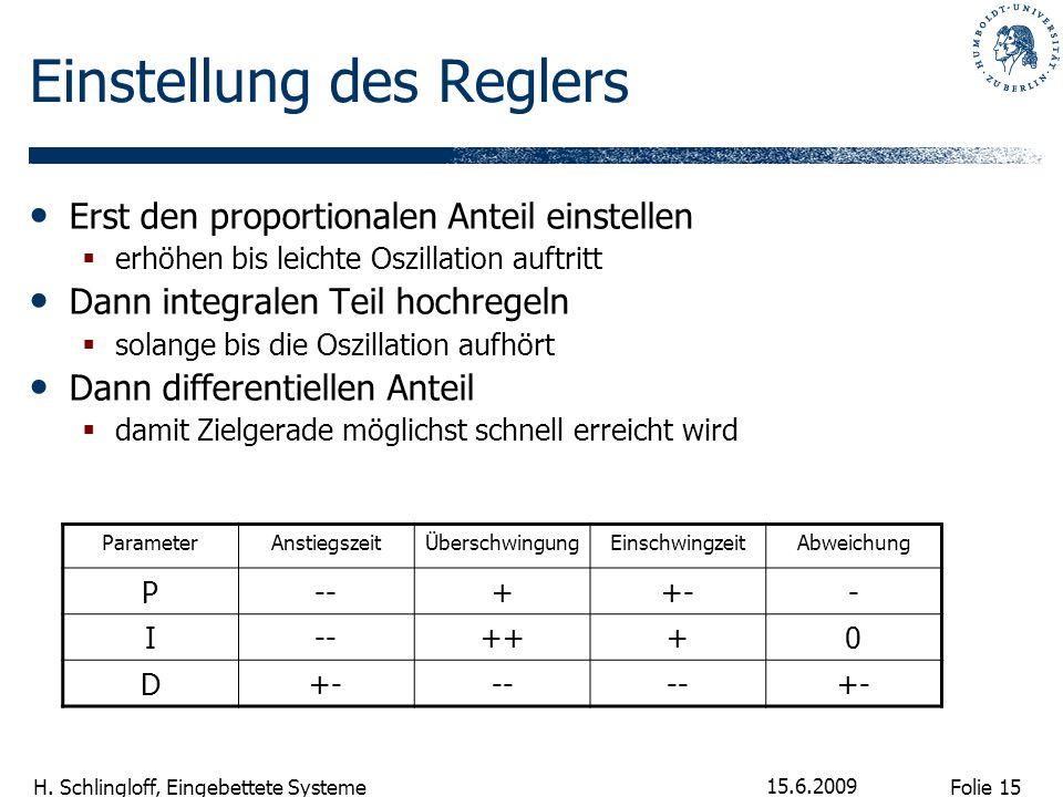 Folie 15 H. Schlingloff, Eingebettete Systeme 15.6.2009 Einstellung des Reglers Erst den proportionalen Anteil einstellen erhöhen bis leichte Oszillat