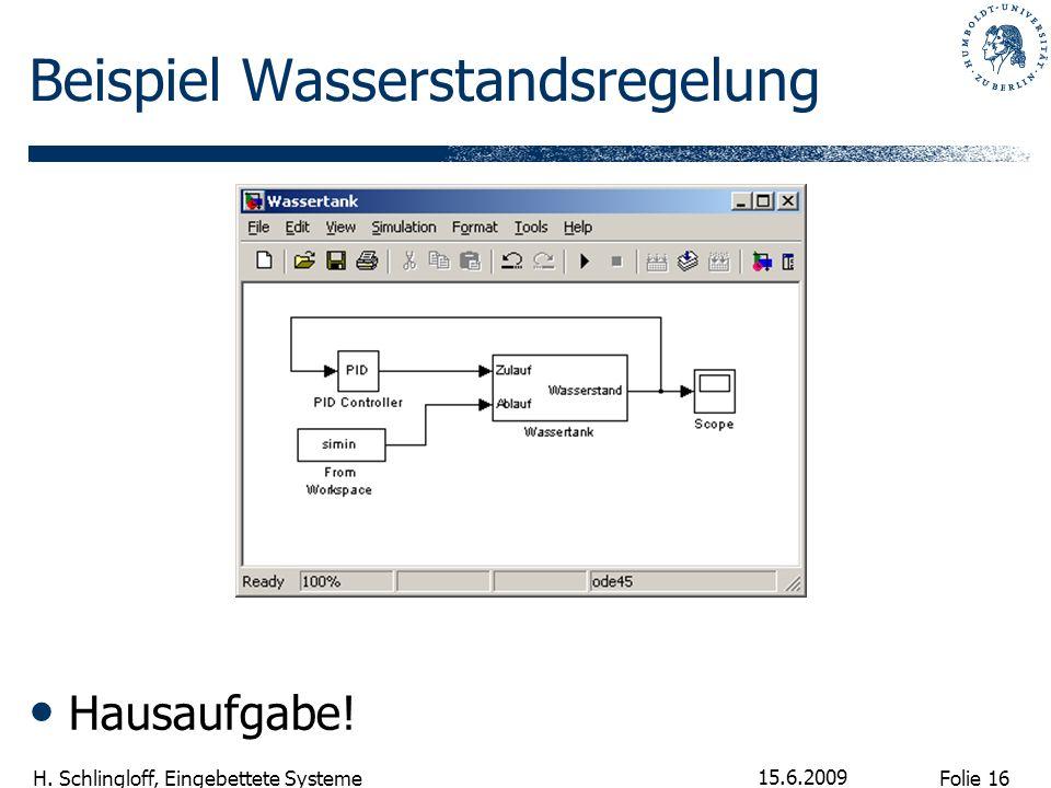 Folie 16 H. Schlingloff, Eingebettete Systeme 15.6.2009 Beispiel Wasserstandsregelung Hausaufgabe!