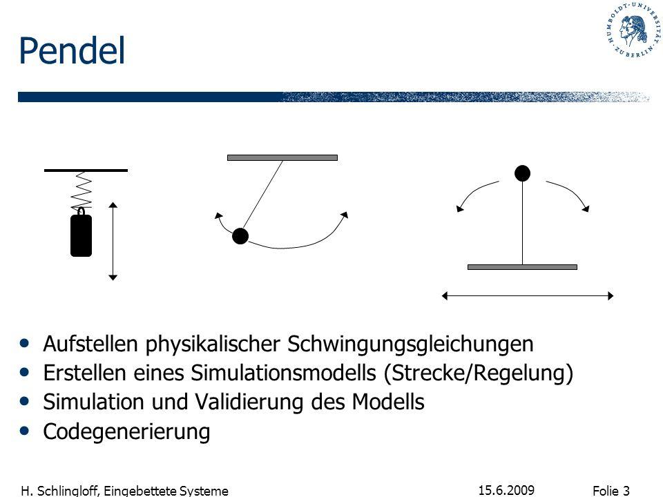 Folie 3 H. Schlingloff, Eingebettete Systeme 15.6.2009 Pendel Aufstellen physikalischer Schwingungsgleichungen Erstellen eines Simulationsmodells (Str