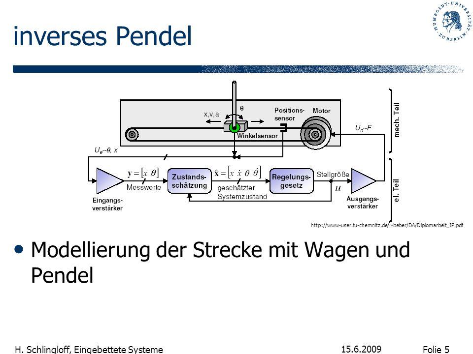 Folie 5 H. Schlingloff, Eingebettete Systeme 15.6.2009 inverses Pendel Modellierung der Strecke mit Wagen und Pendel http://www-user.tu-chemnitz.de/~b