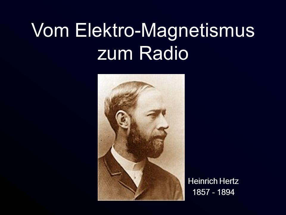 Heinrich Hertz 1857 - 1894 Die großen Pioniere James Clerk Maxwell 1831 - 1879 Michael Faraday 1791 - 1867 Elektrizität, Magnetismus, Feldbegriff Elektrodynamik, Vorhersage elektromagnetischer Wellen Entdeckung elektromagnetischer Wellen