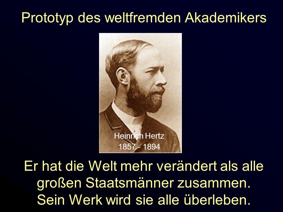 Heinrich Hertz 1857 - 1894 Prototyp des weltfremden Akademikers Er hat die Welt mehr verändert als alle großen Staatsmänner zusammen. Sein Werk wird s
