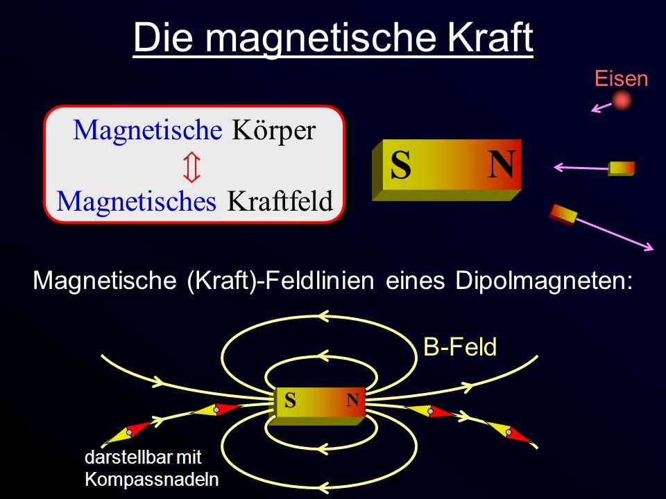 Magnetische Körper Magnetisches Kraftfeld Magnetische Körper Magnetisches Kraftfeld Eisen N S Die magnetische Kraft Magnetische (Kraft)-Feldlinien ein