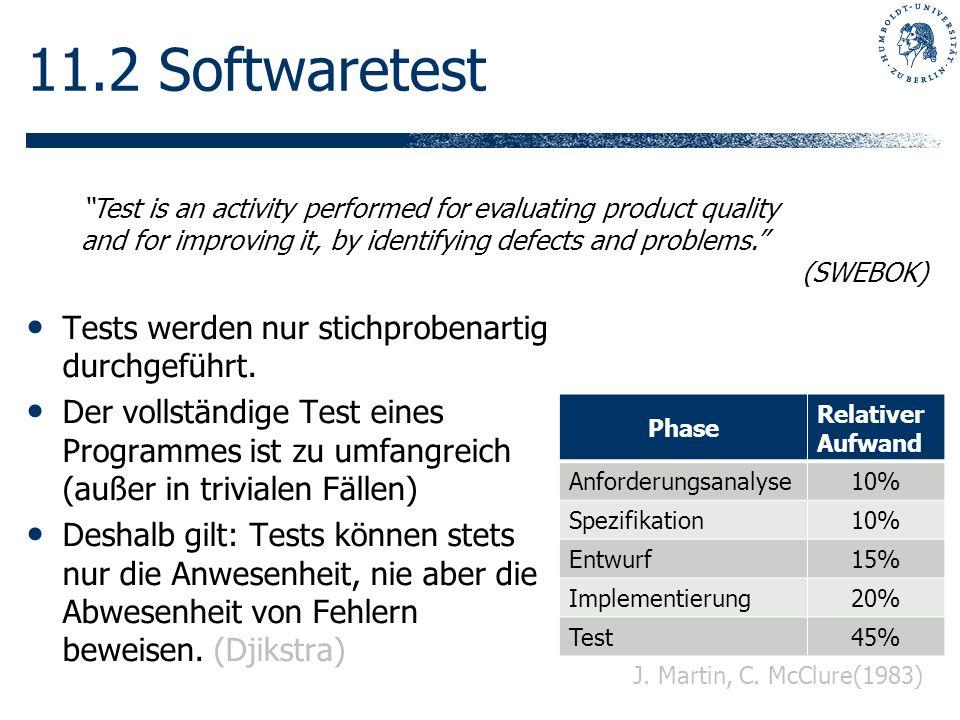 11.2 Softwaretest Tests werden nur stichprobenartig durchgeführt. Der vollständige Test eines Programmes ist zu umfangreich (außer in trivialen Fällen
