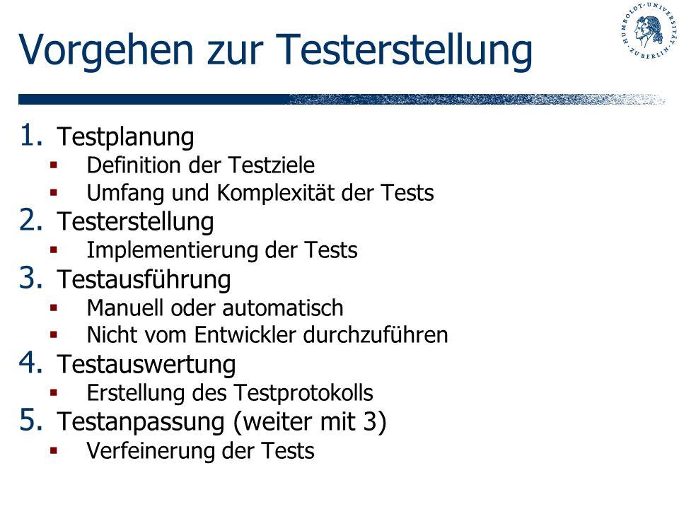 Teststufen Abnahmetest / Akzeptanztest Test der gelieferten Software durch den Kunden Systemtest Test des gesamten Systems gegen die Anforderungen Integrationstest Test der Zusammenarbeit voneinander abhängiger Komponenten Komponententest / Modultest Test größerer Einheiten: Module oder Komponenten Unit Test Kleinste zu testende Einheit: Units oder Klassen