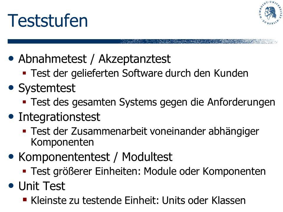 Teststufen Abnahmetest / Akzeptanztest Test der gelieferten Software durch den Kunden Systemtest Test des gesamten Systems gegen die Anforderungen Int