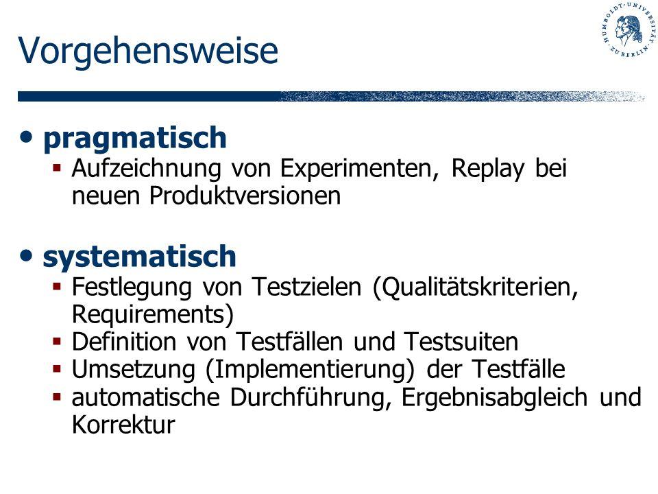 Vorgehensweise pragmatisch Aufzeichnung von Experimenten, Replay bei neuen Produktversionen systematisch Festlegung von Testzielen (Qualitätskriterien