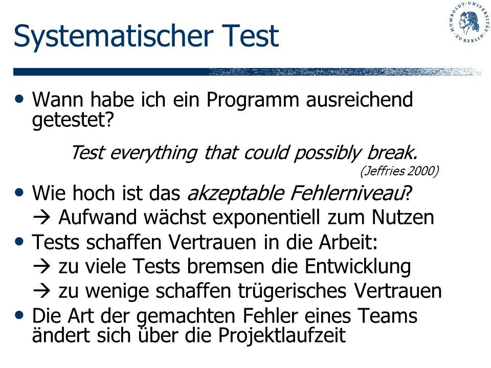 Systematischer Test Wann habe ich ein Programm ausreichend getestet? Wie hoch ist das akzeptable Fehlerniveau? Aufwand wächst exponentiell zum Nutzen