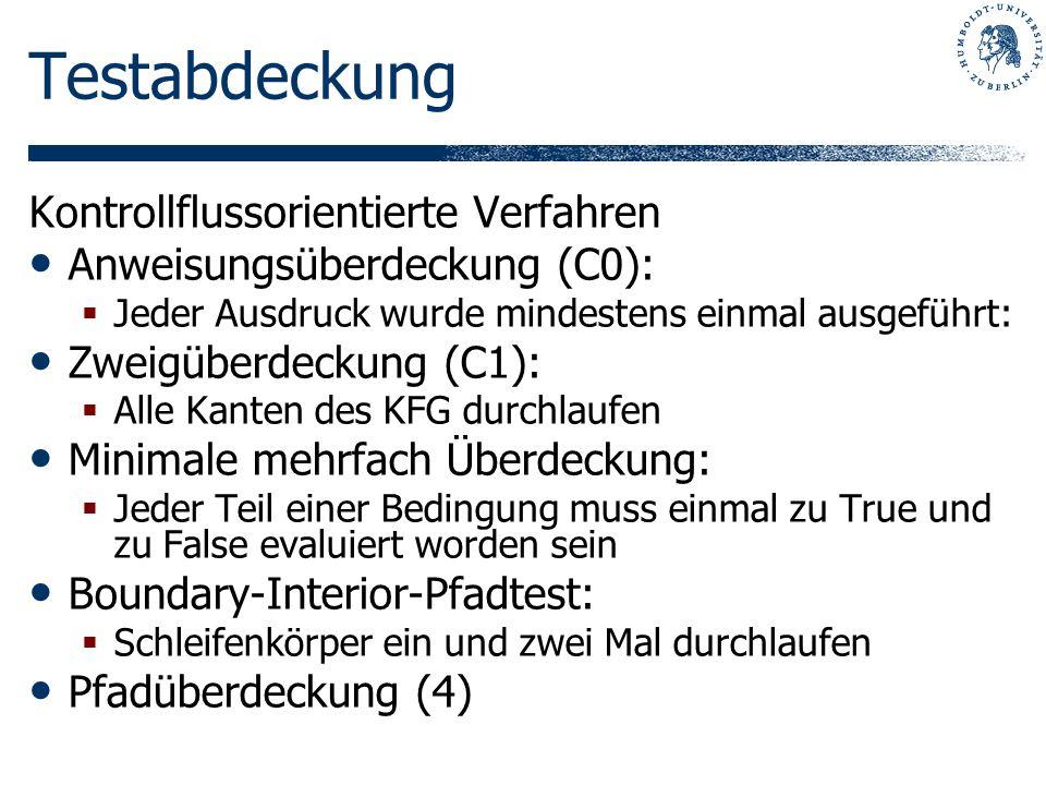 Testabdeckung Kontrollflussorientierte Verfahren Anweisungsüberdeckung (C0): Jeder Ausdruck wurde mindestens einmal ausgeführt: Zweigüberdeckung (C1):
