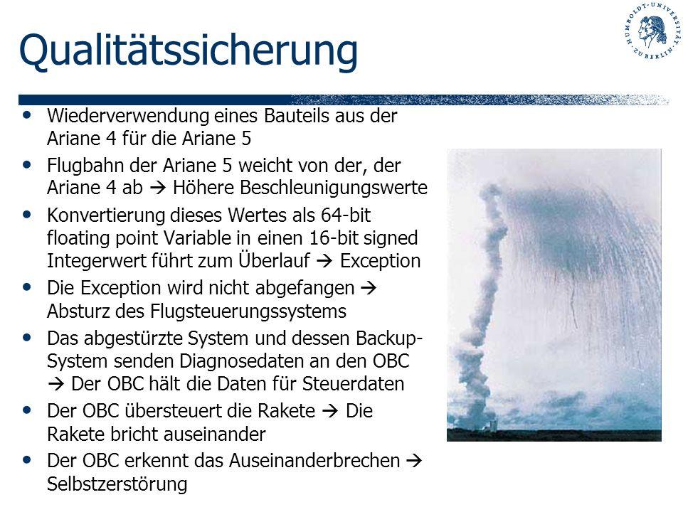 Qualitätssicherung Wiederverwendung eines Bauteils aus der Ariane 4 für die Ariane 5 Flugbahn der Ariane 5 weicht von der, der Ariane 4 ab Höhere Besc