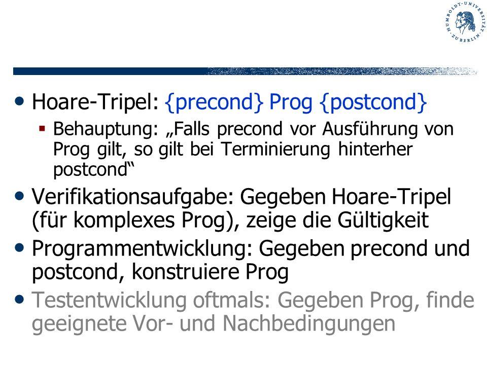 Hoare-Tripel: {precond} Prog {postcond} Behauptung: Falls precond vor Ausführung von Prog gilt, so gilt bei Terminierung hinterher postcond Verifikati