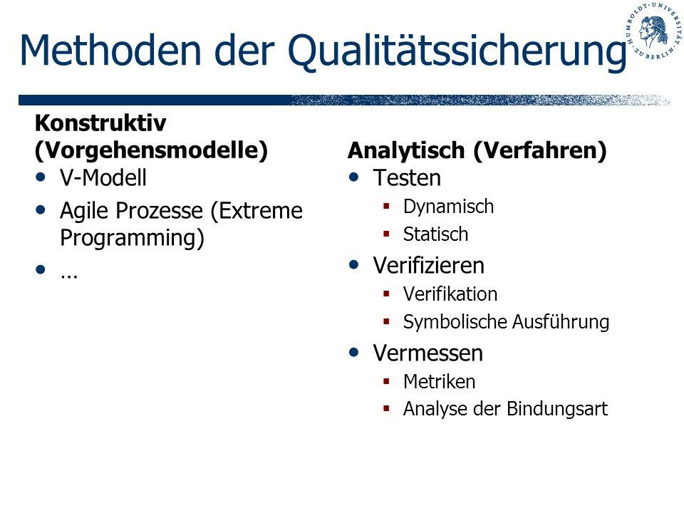 Konstruktiv (Vorgehensmodelle) V-Modell Agile Prozesse (Extreme Programming) … Analytisch (Verfahren) Testen Dynamisch Statisch Verifizieren Verifikat
