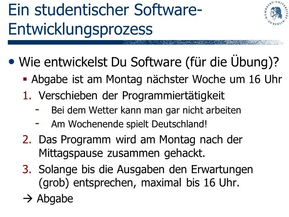 Ein studentischer Software- Entwicklungsprozess Wie entwickelst Du Software (für die Übung)? Abgabe ist am Montag nächster Woche um 16 Uhr 1.Verschieb