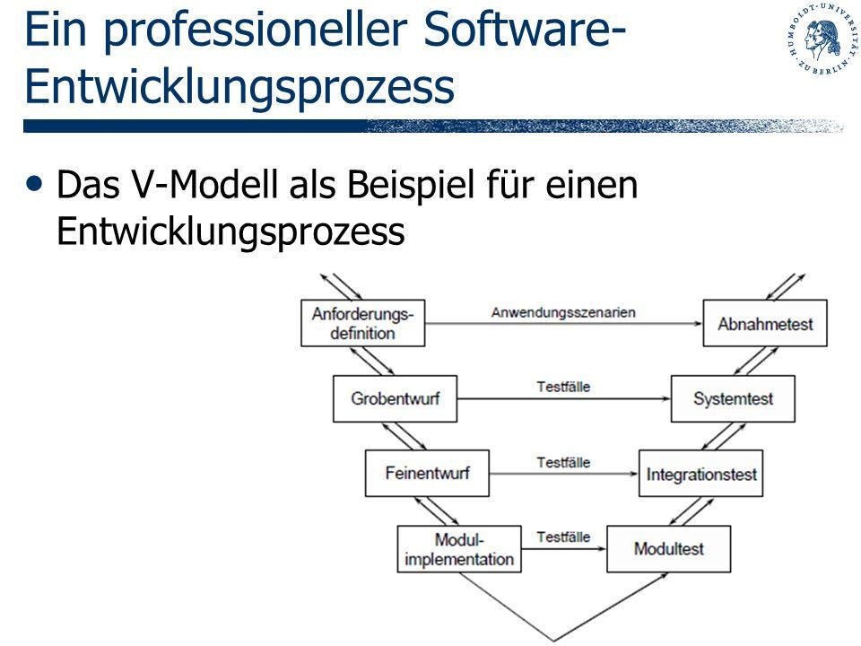 Ein professioneller Software- Entwicklungsprozess Das V-Modell als Beispiel für einen Entwicklungsprozess