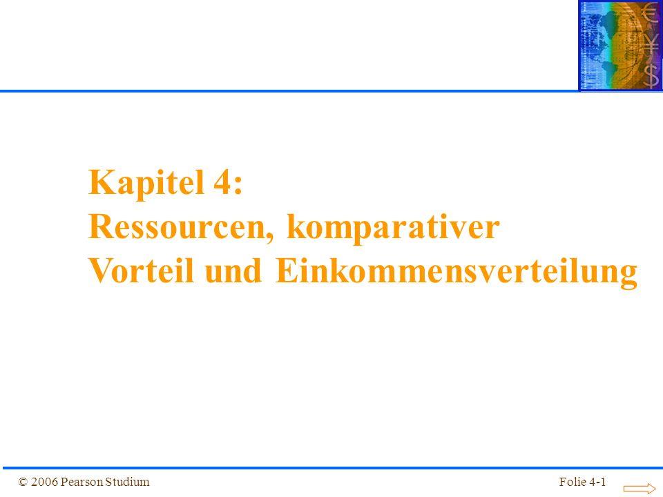 Folie 4-22© 2006 Pearson Studium FF CC SS Boden- Arbeits- Verhält- nis, T/L Relativer Textilpreis, P C /P F Lohn-Zins-Verhältnis, w/r (P C /P F ) 1 (T C /L C ) 2 (T C /L C ) 1 (T F /L F ) 2 (T F /L F ) 1 (w/r) 2 (w/r) 1 ansteigend (P C /P F ) 2 Abbildung 4.7: Von Güterpreisen zur Inputwahl Modell einer Volkswirtschaft mit zwei Faktoren