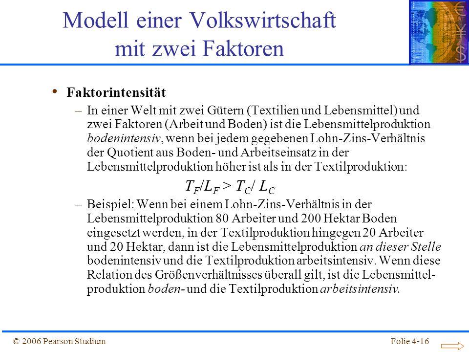 Folie 4-16© 2006 Pearson Studium Faktorintensität –In einer Welt mit zwei Gütern (Textilien und Lebensmittel) und zwei Faktoren (Arbeit und Boden) ist