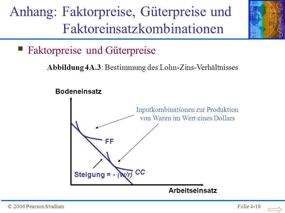 Folie 4-18© 2006 Pearson Studium FFCC Steigung = - (w/r) Anhang: Faktorpreise, Güterpreise und Faktoreinsatzkombinationen Bodeneinsatz Arbeitseinsatz