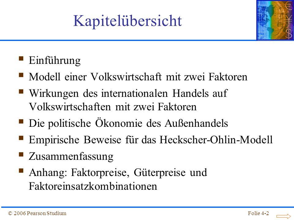 Folie 4-53© 2006 Pearson Studium Empirische Beweise für das Heckscher-Ohlin-Modell Tabelle 4.6: Geschätzte technologische Effizienz, 1983 (USA = 1)