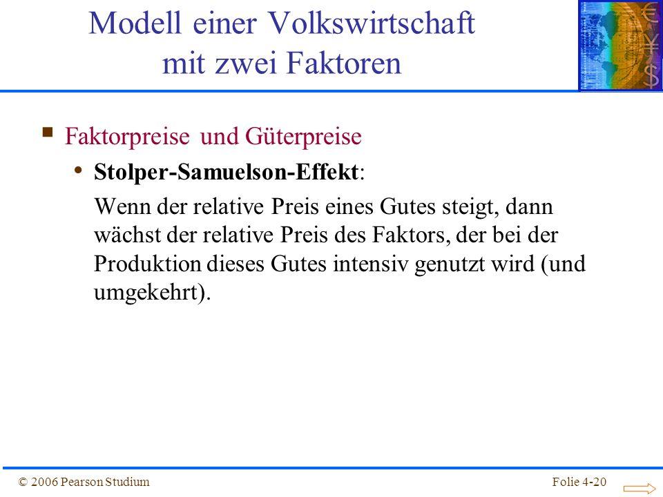 Folie 4-20© 2006 Pearson Studium Faktorpreise und Güterpreise Stolper-Samuelson-Effekt: Wenn der relative Preis eines Gutes steigt, dann wächst der re