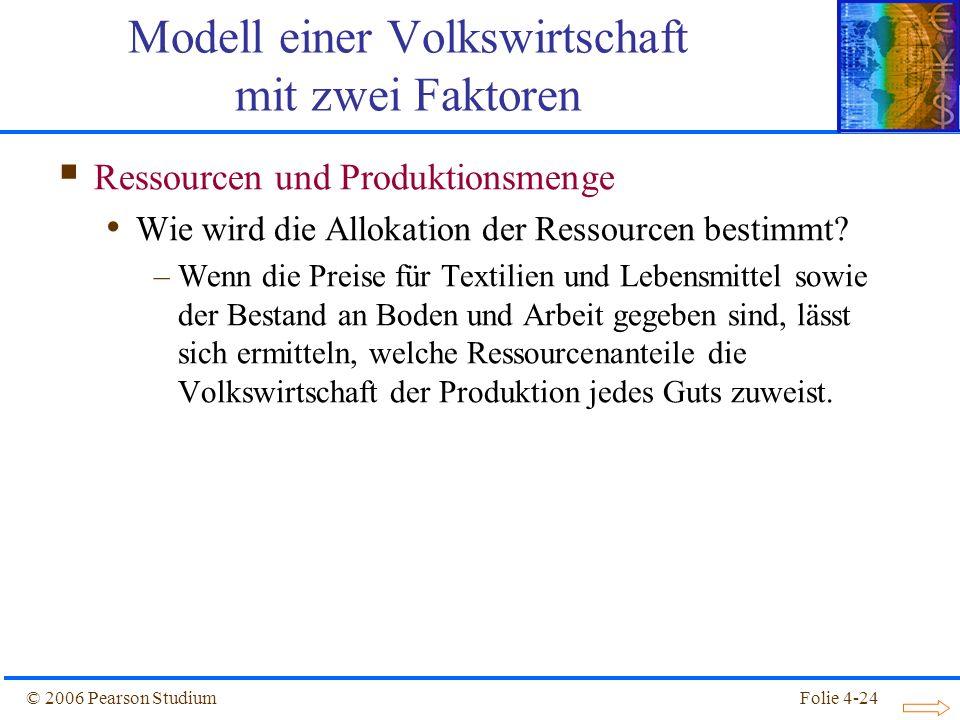 Folie 4-24© 2006 Pearson Studium Ressourcen und Produktionsmenge Wie wird die Allokation der Ressourcen bestimmt? –Wenn die Preise für Textilien und L