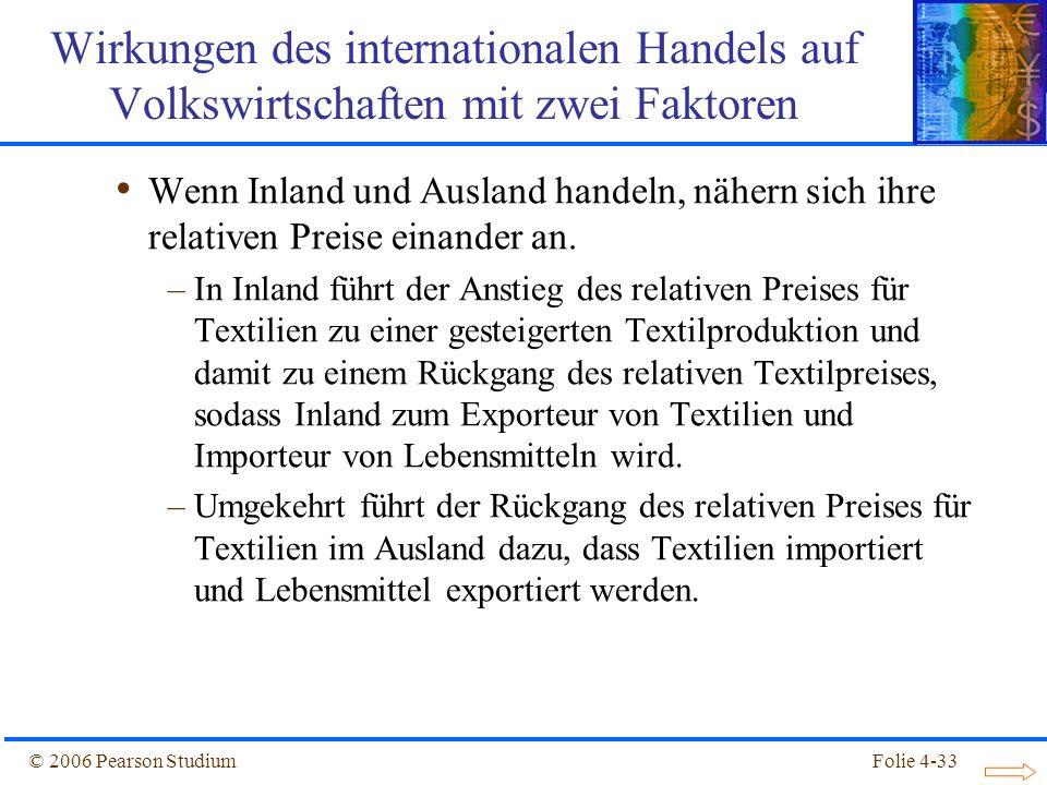 Folie 4-33© 2006 Pearson Studium Wenn Inland und Ausland handeln, nähern sich ihre relativen Preise einander an. –In Inland führt der Anstieg des rela