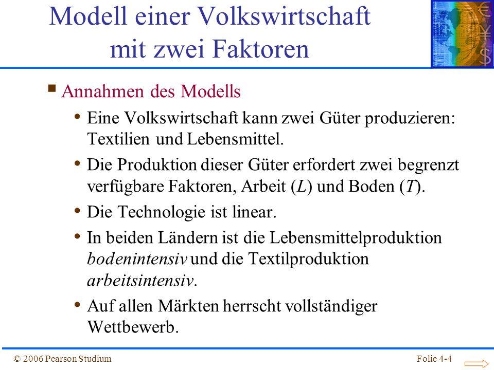 Folie 4-4© 2006 Pearson Studium Annahmen des Modells Eine Volkswirtschaft kann zwei Güter produzieren: Textilien und Lebensmittel. Die Produktion dies