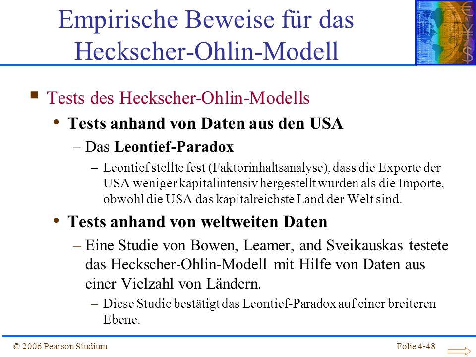 Folie 4-48© 2006 Pearson Studium Tests des Heckscher-Ohlin-Modells Tests anhand von Daten aus den USA –Das Leontief-Paradox –Leontief stellte fest (Fa