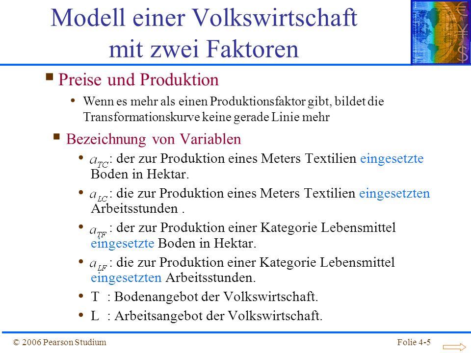 Folie 4-5© 2006 Pearson Studium Bezeichnung von Variablen : der zur Produktion eines Meters Textilien eingesetzte Boden in Hektar. : die zur Produktio