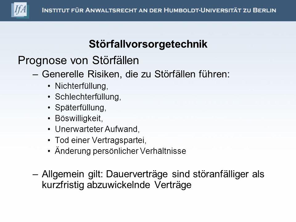 Störfallvorsorgetechnik Prognose von Störfällen –Generelle Risiken, die zu Störfällen führen: Nichterfüllung, Schlechterfüllung, Späterfüllung, Böswil