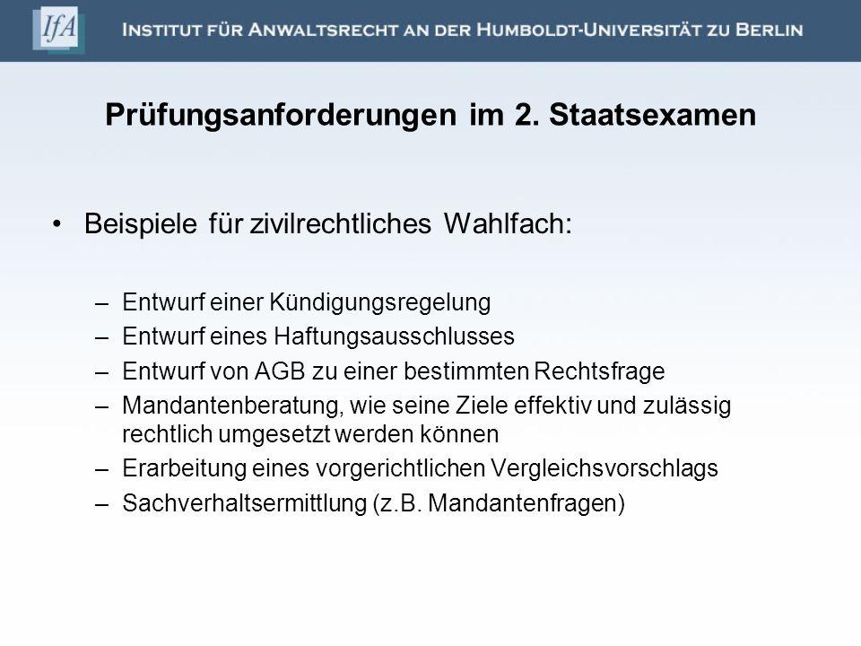 Prüfungsanforderungen im 2. Staatsexamen Beispiele für zivilrechtliches Wahlfach: –Entwurf einer Kündigungsregelung –Entwurf eines Haftungsausschlusse