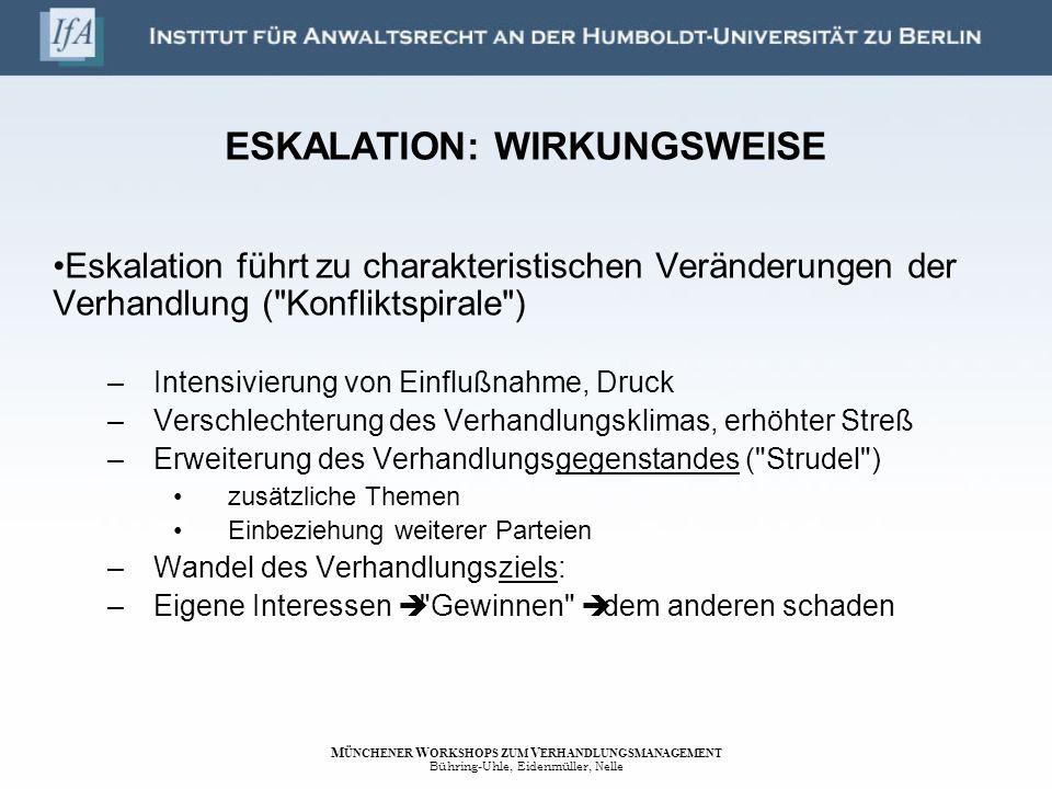 ESKALATION: WIRKUNGSWEISE Eskalation führt zu charakteristischen Veränderungen der Verhandlung (