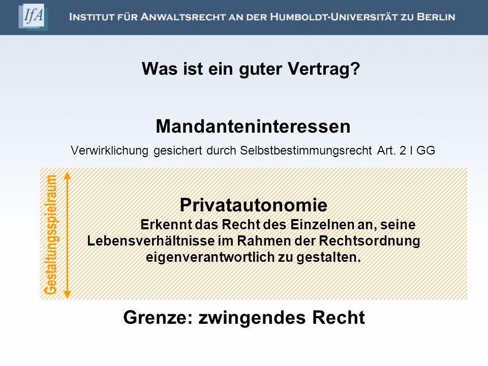 Was ist ein guter Vertrag.Zukunftsorientierung des Vertragsjuristen Mandanten- interessen ??.