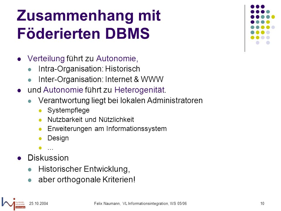 25.10.2004Felix Naumann, VL Informationsintegration, WS 05/0610 Zusammenhang mit Föderierten DBMS Verteilung führt zu Autonomie, Intra-Organisation: H