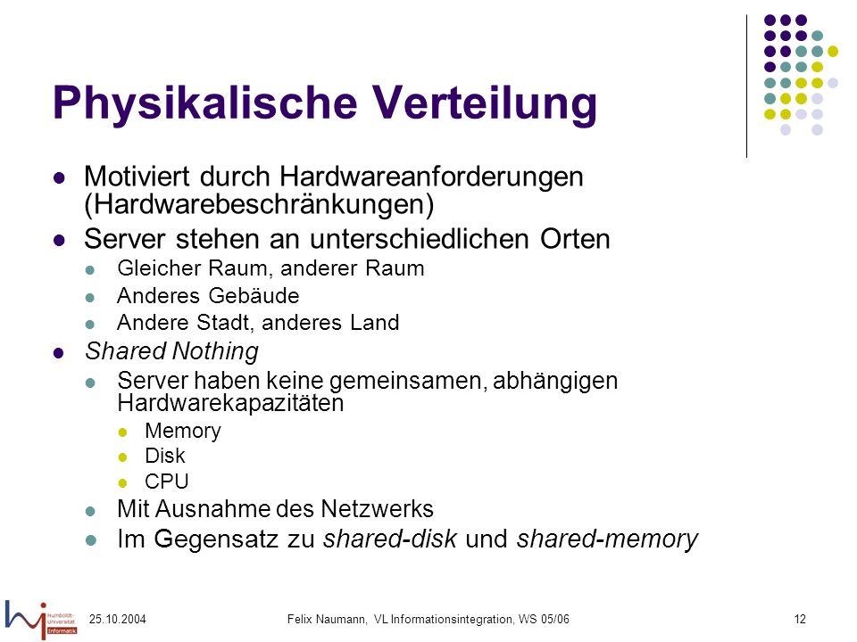 25.10.2004Felix Naumann, VL Informationsintegration, WS 05/0612 Physikalische Verteilung Motiviert durch Hardwareanforderungen (Hardwarebeschränkungen