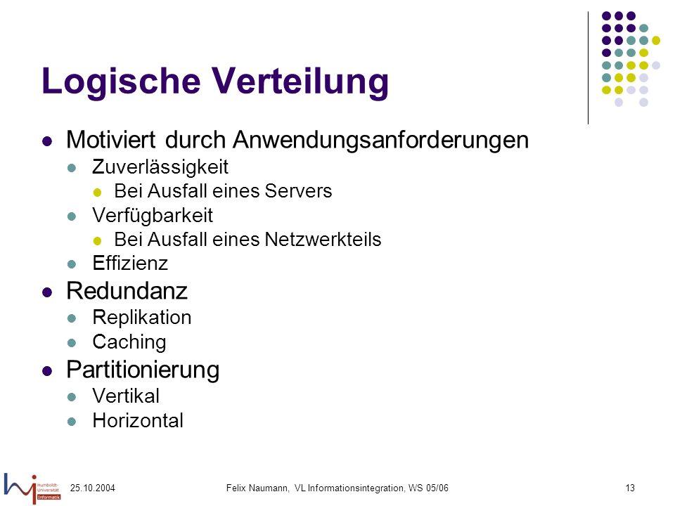 25.10.2004Felix Naumann, VL Informationsintegration, WS 05/0613 Logische Verteilung Motiviert durch Anwendungsanforderungen Zuverlässigkeit Bei Ausfal