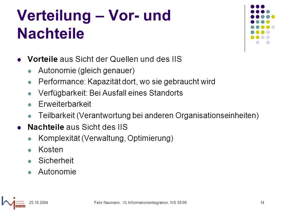 25.10.2004Felix Naumann, VL Informationsintegration, WS 05/0614 Verteilung – Vor- und Nachteile Vorteile aus Sicht der Quellen und des IIS Autonomie (