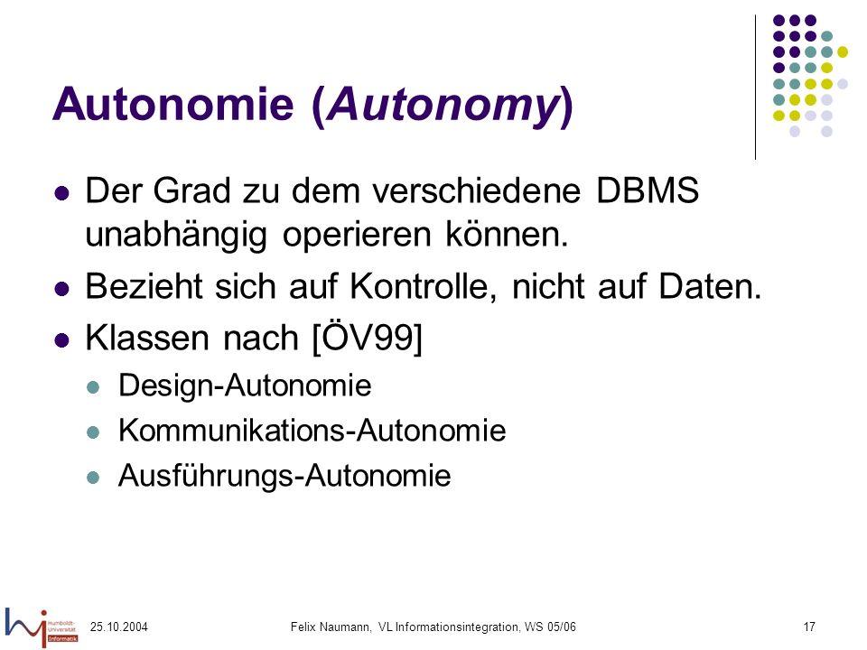 25.10.2004Felix Naumann, VL Informationsintegration, WS 05/0617 Autonomie (Autonomy) Der Grad zu dem verschiedene DBMS unabhängig operieren können. Be