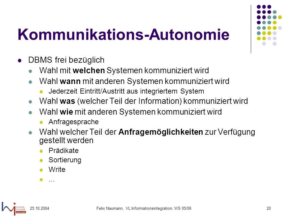 25.10.2004Felix Naumann, VL Informationsintegration, WS 05/0620 Kommunikations-Autonomie DBMS frei bezüglich Wahl mit welchen Systemen kommuniziert wi