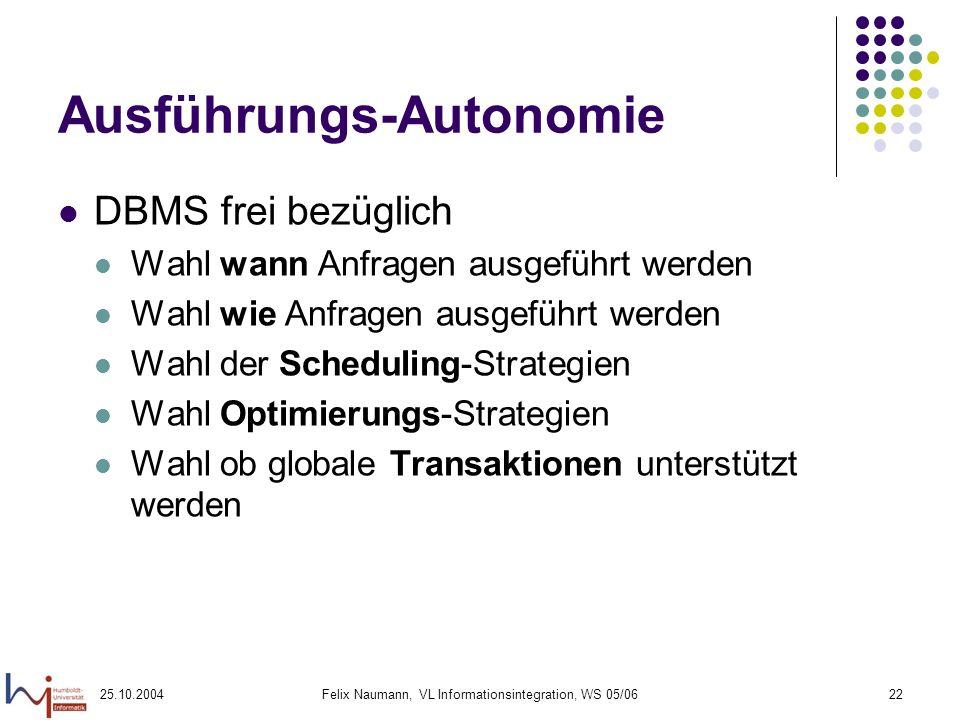 25.10.2004Felix Naumann, VL Informationsintegration, WS 05/0622 Ausführungs-Autonomie DBMS frei bezüglich Wahl wann Anfragen ausgeführt werden Wahl wi