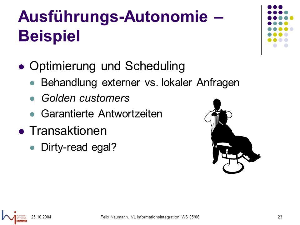 25.10.2004Felix Naumann, VL Informationsintegration, WS 05/0623 Ausführungs-Autonomie – Beispiel Optimierung und Scheduling Behandlung externer vs. lo
