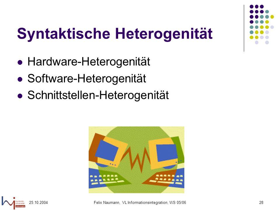 25.10.2004Felix Naumann, VL Informationsintegration, WS 05/0628 Syntaktische Heterogenität Hardware-Heterogenität Software-Heterogenität Schnittstelle