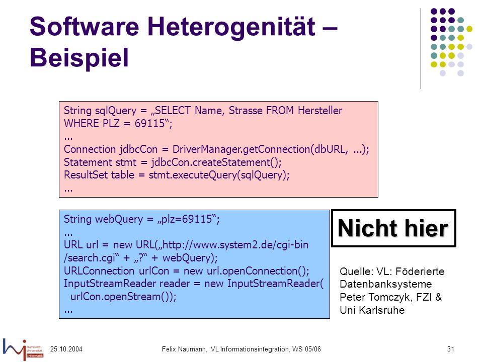 25.10.2004Felix Naumann, VL Informationsintegration, WS 05/0631 Software Heterogenität – Beispiel String sqlQuery = SELECT Name, Strasse FROM Herstell