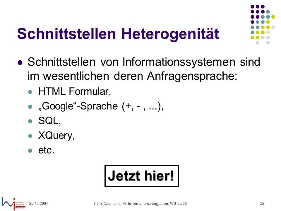 25.10.2004Felix Naumann, VL Informationsintegration, WS 05/0632 Schnittstellen Heterogenität Schnittstellen von Informationssystemen sind im wesentlic