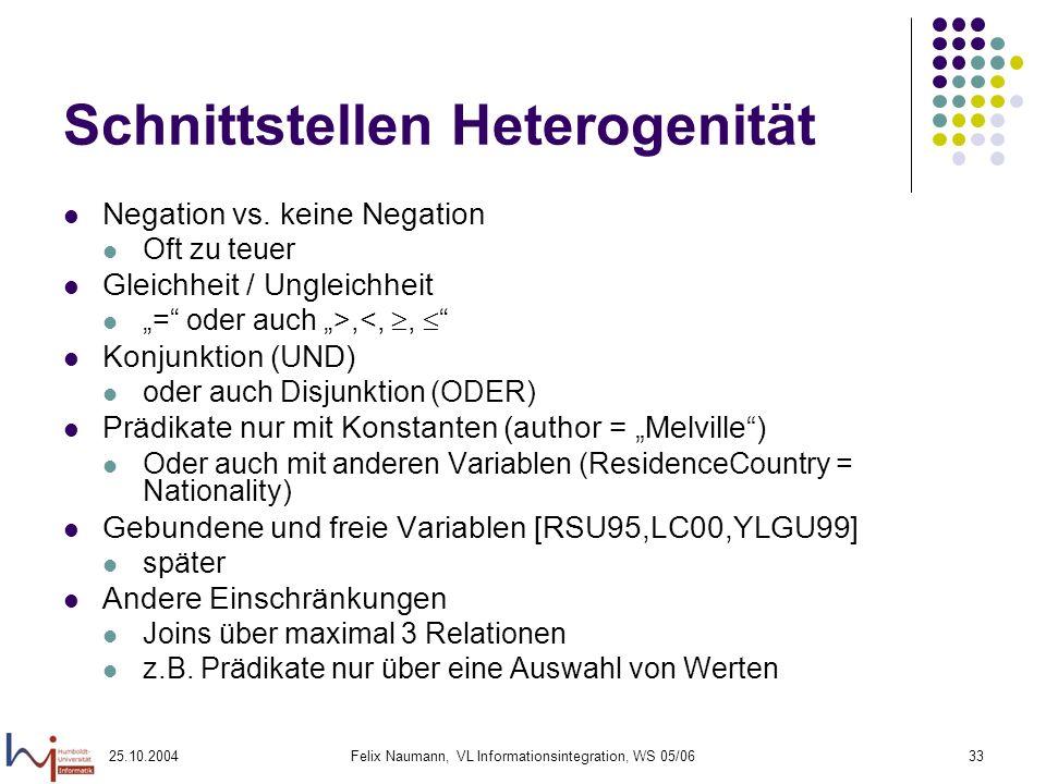 25.10.2004Felix Naumann, VL Informationsintegration, WS 05/0633 Schnittstellen Heterogenität Negation vs. keine Negation Oft zu teuer Gleichheit / Ung