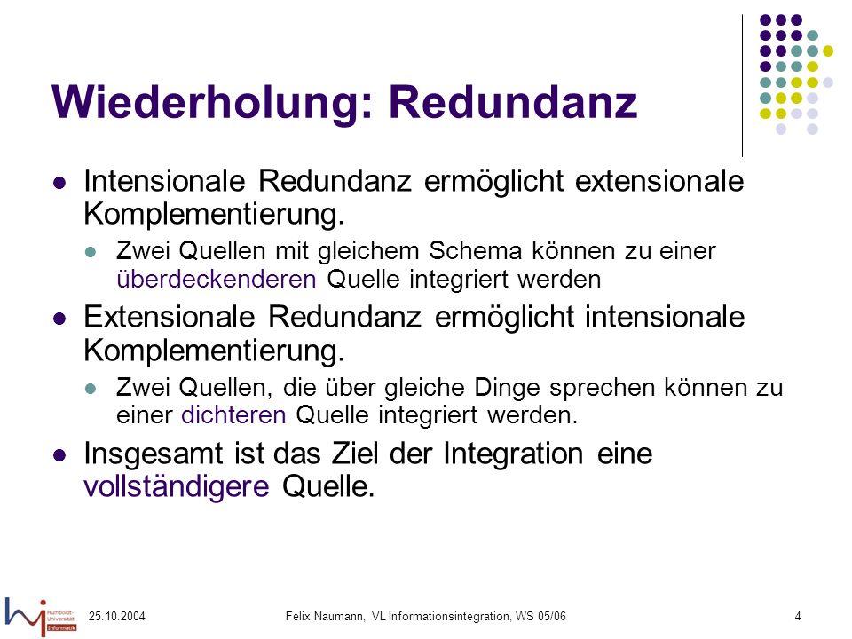 25.10.2004Felix Naumann, VL Informationsintegration, WS 05/064 Wiederholung: Redundanz Intensionale Redundanz ermöglicht extensionale Komplementierung