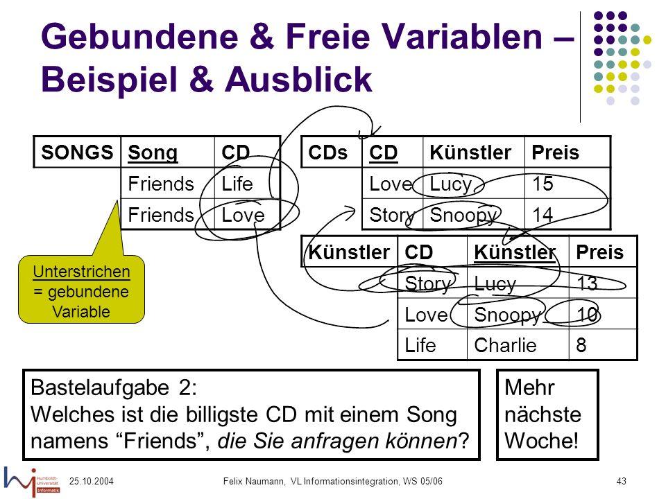 25.10.2004Felix Naumann, VL Informationsintegration, WS 05/0643 Gebundene & Freie Variablen – Beispiel & Ausblick Bastelaufgabe 2: Welches ist die bil