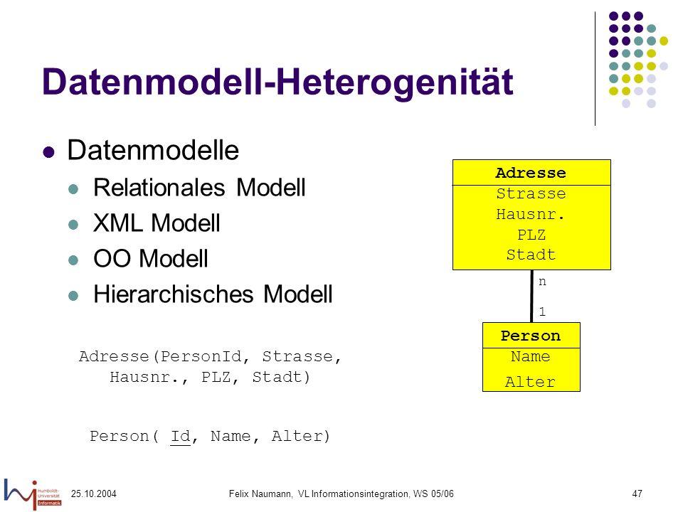 25.10.2004Felix Naumann, VL Informationsintegration, WS 05/0647 Datenmodell-Heterogenität Datenmodelle Relationales Modell XML Modell OO Modell Hierar